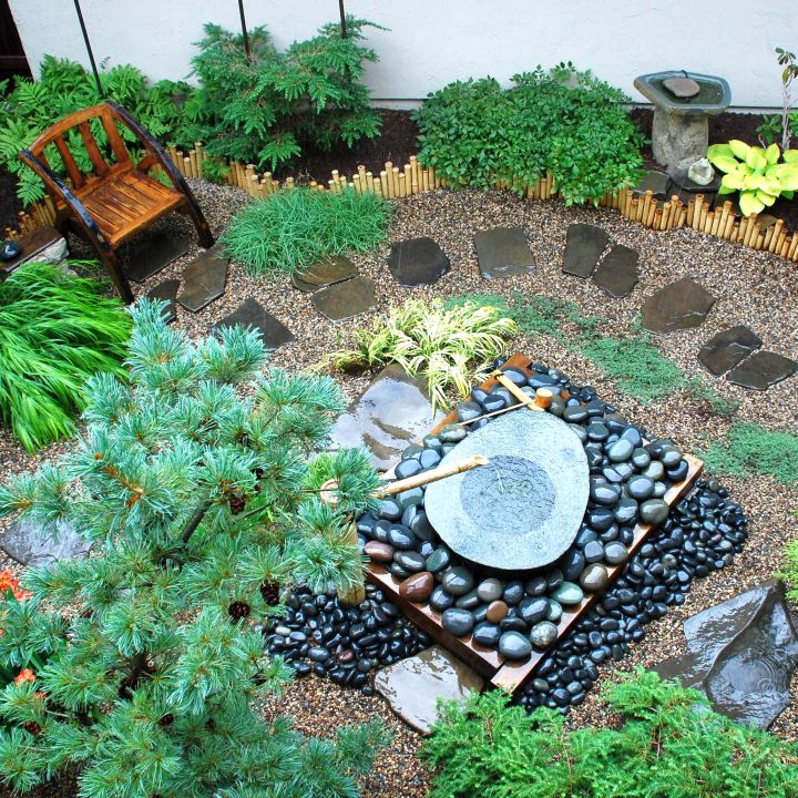 small japanese garden design ideas with small fountain
