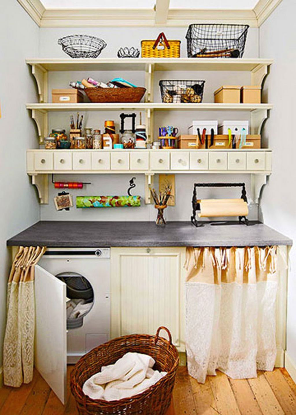 20 briliant small laundry room storage solutions for Kitchen decoration for small space