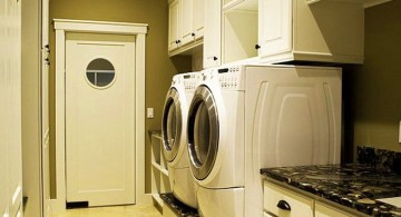 small laundry room designs white wooden cabinets with black marbletop