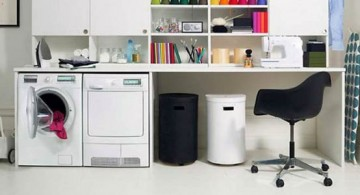 small laundry room designs with small office in monochrome