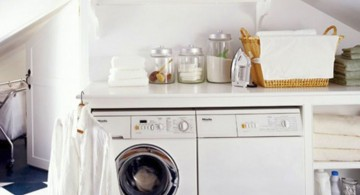small laundry room storage solutions for room with low ceiling