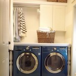 small laundry room storage solutions for small space with blue washing machines