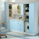 small laundry room storage solutions with baby blue palette