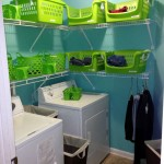 small laundry room storage solutions with basket racks