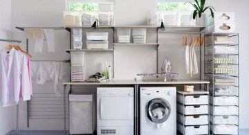 small laundry room storage solutions with stacked boxes
