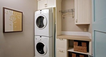 small laundry room storage solutions with stacked rattan boxes