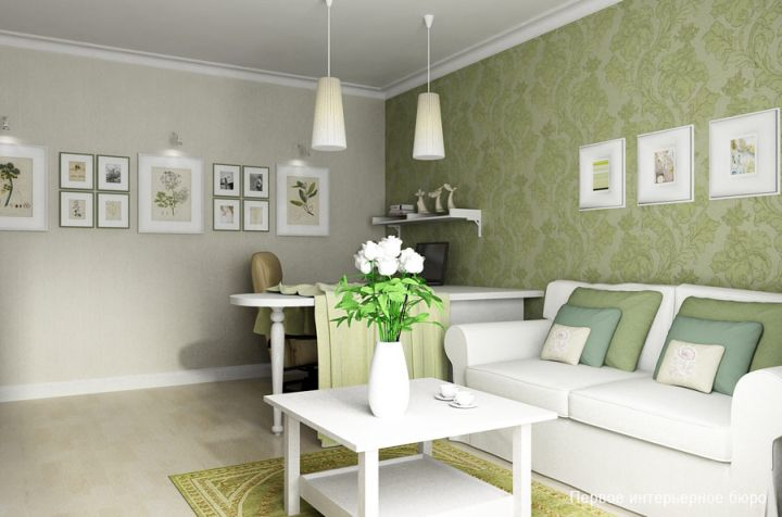 small living room ideas in green and white