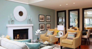 small living room ideas with turquoise wall