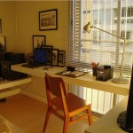 small office plans with L shaped desk mounted on the wall