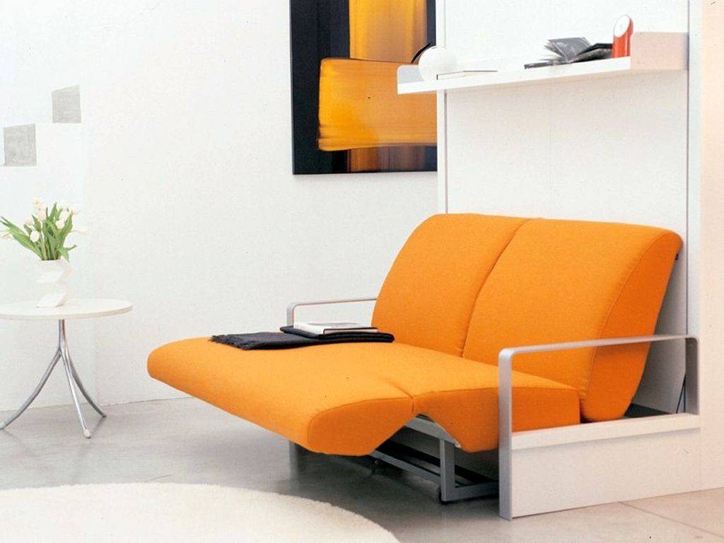 small sofa beds for small rooms in bright orange