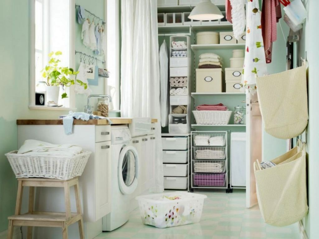 smart small laundry room storage solutions for new family