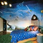 space themed boys blue room