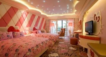 spacious hello kity girls bedroom designs