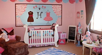 spacious pink baby room ideas with blue zebra rug