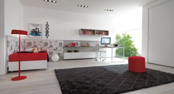 spacious red black and white bedroom ideas for kids