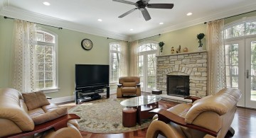 stack stone fireplaces for low ceilinged room