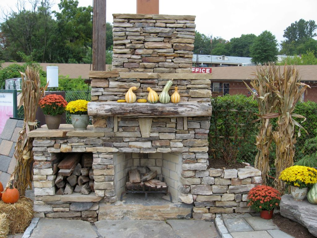 Stack stone fireplaces for outdoor Outdoor fireplace design ideas