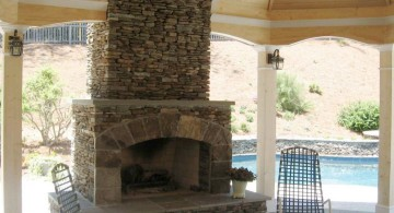 stack stone fireplaces for poolside