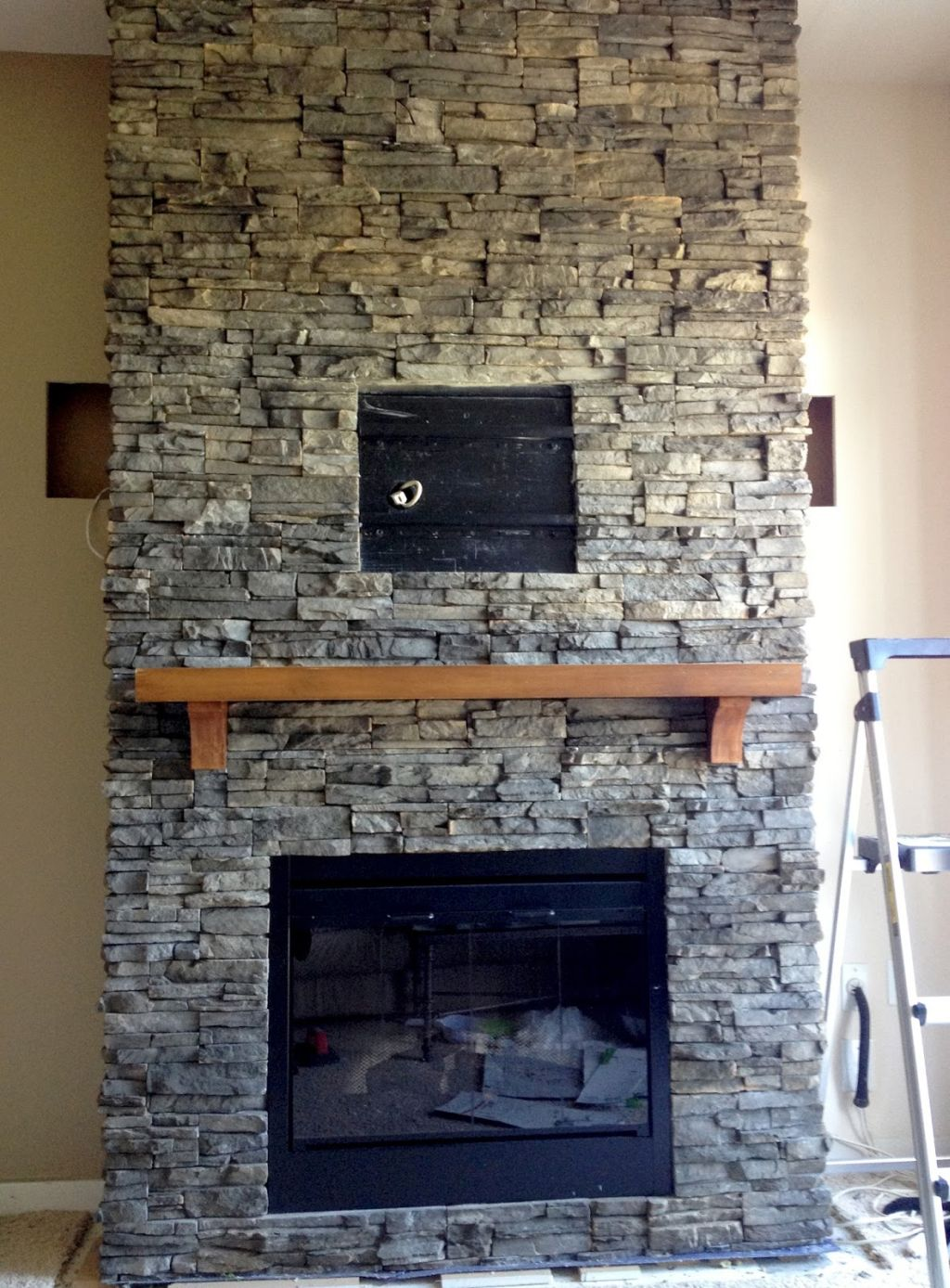 Nice 19 Awesome Stacked Stone Fireplace Designs