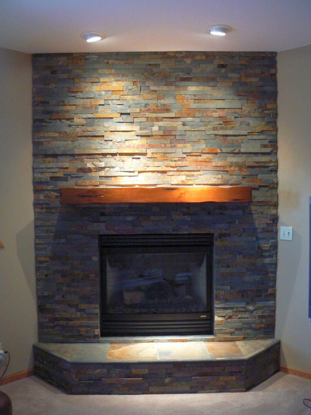 stack fireplaces with colorful rocks