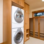 stacked machines minimalistic small laundry room designs
