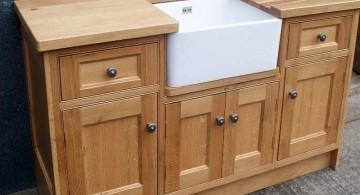 stand alone kitchen sink from pine wood