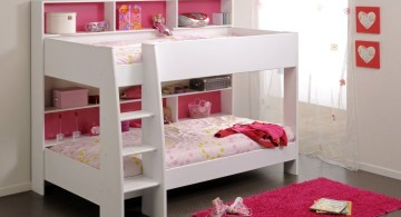 stylish bunk beds in pink and white