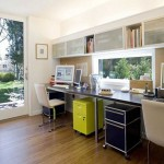 stylish home office outlooking the garden