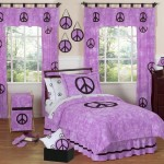 sweet violet peace sign pattern teenage girl curtain designs