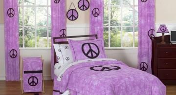 sweet violet peace sign pattern teenage girl curtain designs