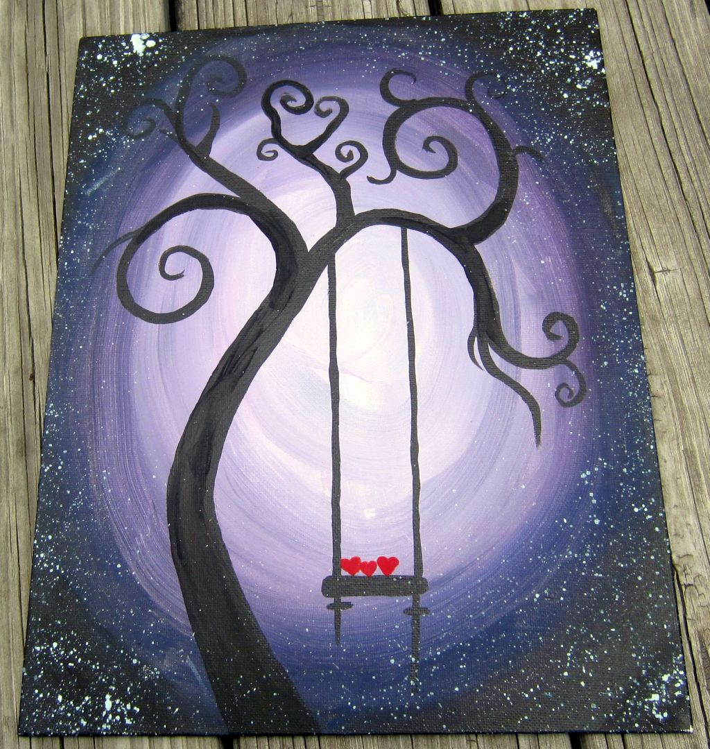 Swing hearts simple painting ideas canvas for Simple canvas painting ideas