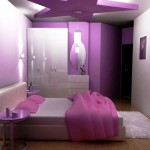 teenage girls room inspiration designs in purple for limited space