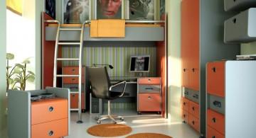 teenage rooms ideas in orange and grey