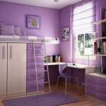 teenage rooms ideas in purple with saved space bed