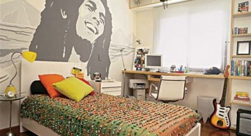teenage rooms ideas with Bob Marley mural