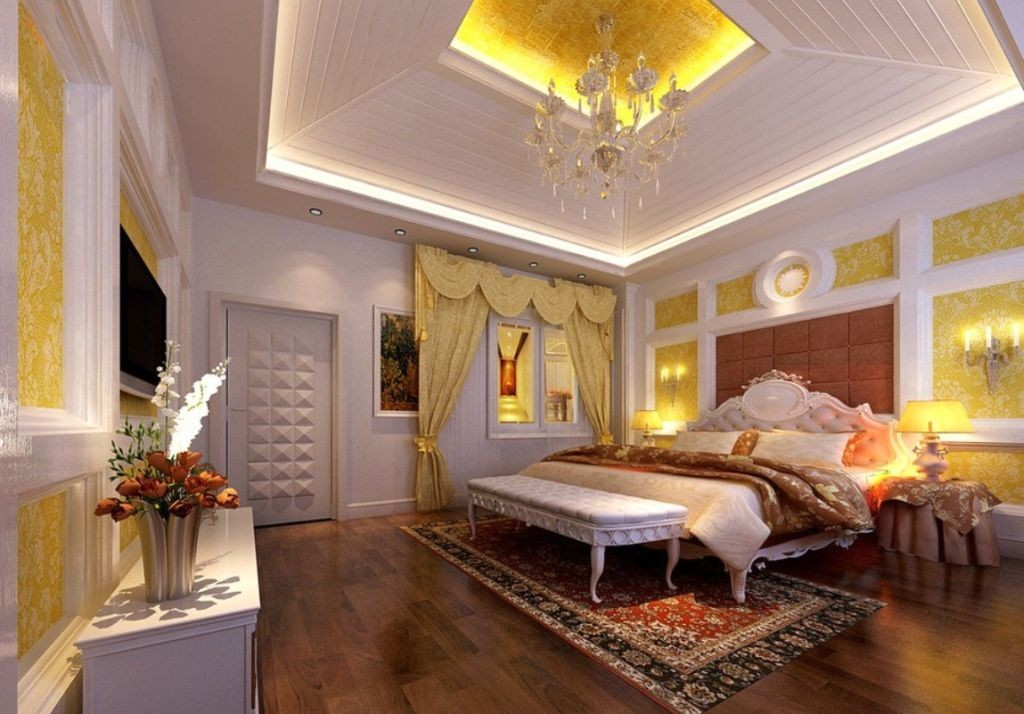 thickly layered tray ceiling bedroom