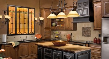 three in one vintage mini pendant lights over kitchen island for small space