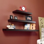 three tiered with different length floating shelf decorating ideas
