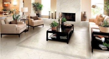 tile flooring ideas for living room in white and grey pattern