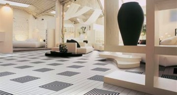 tile flooring ideas for living room with art deco pattern