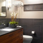 tiny bathroom design ideas in black and white with rustic wood cabinets