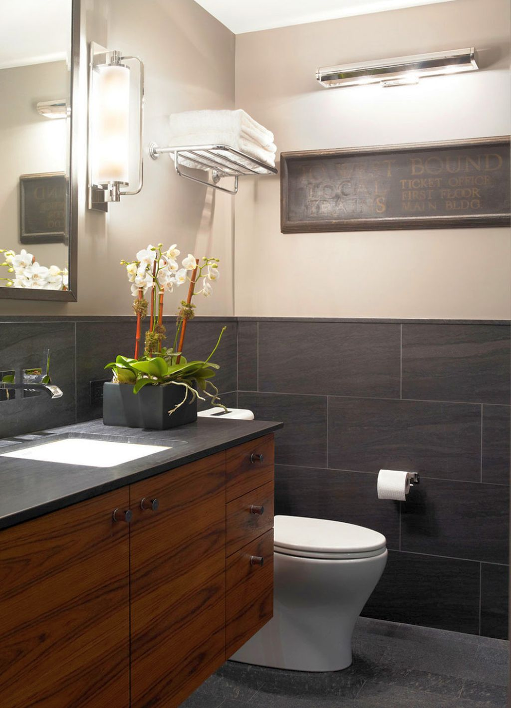 Tiny bathroom design ideas in black and white with rustic for Dark wood bathroom designs