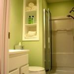 tiny bathroom design ideas in green with accordion glass door