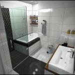 tiny bathroom design ideas in modern black and white tiles
