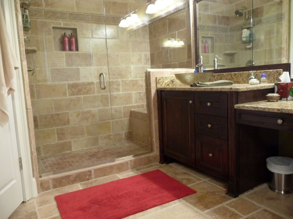 tiny bathroom design ideas with dark wood cabinet and red floor mat