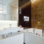 tiny bathroom design ideas with modern sink and tub design