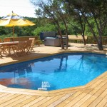 tiny swimming pools on wood deck