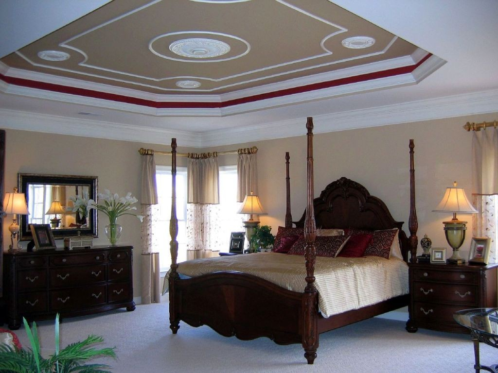 20 elegant modern tray ceiling bedroom designs for Four bedroom design