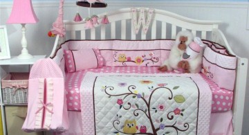 tree and birds cute baby girl bedding ideas