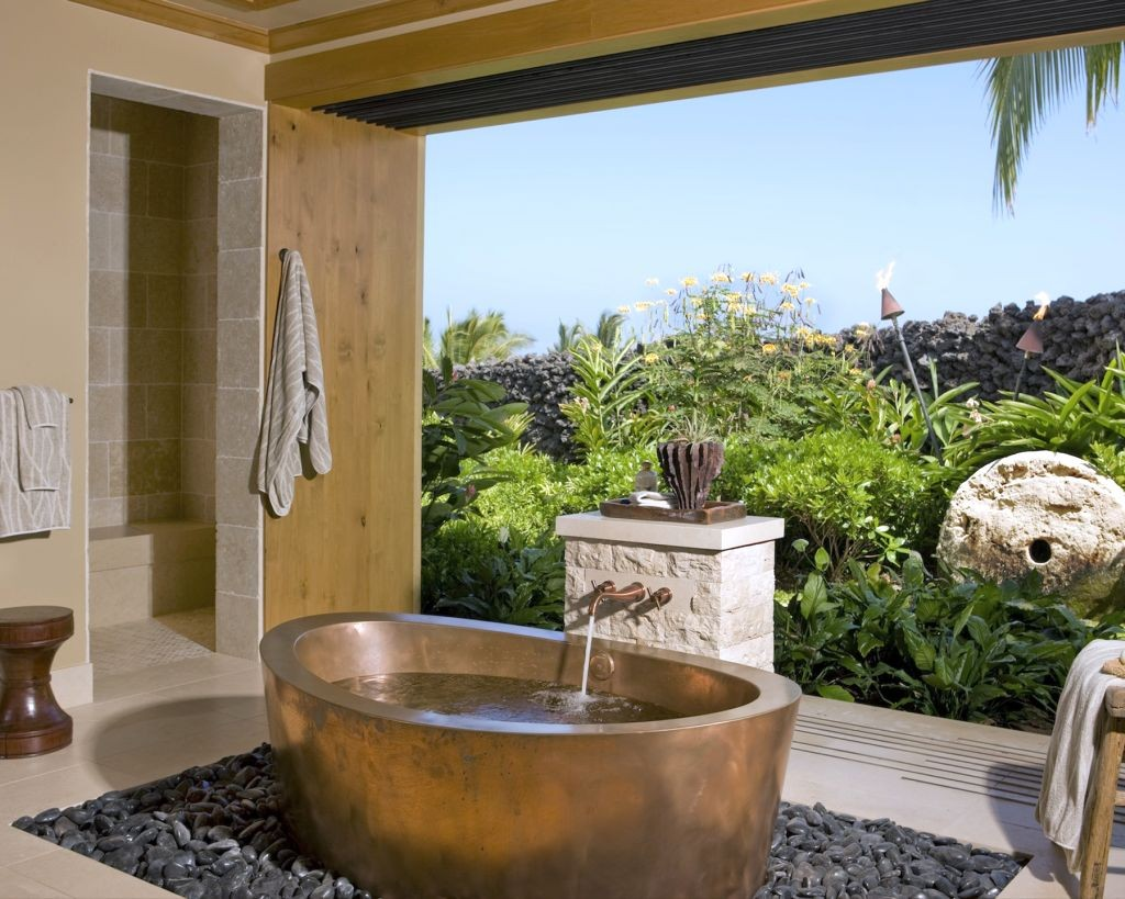 tropical style in bamboo themed bathroom